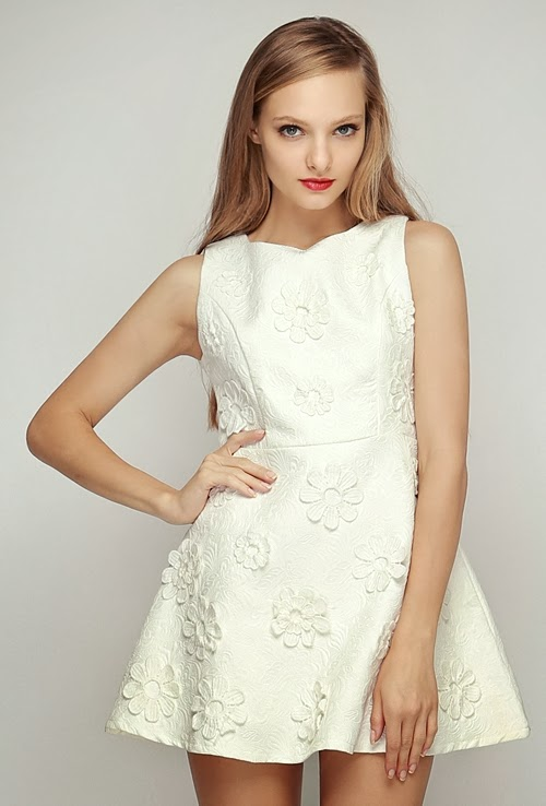 Flower Applique Jacquard Dress