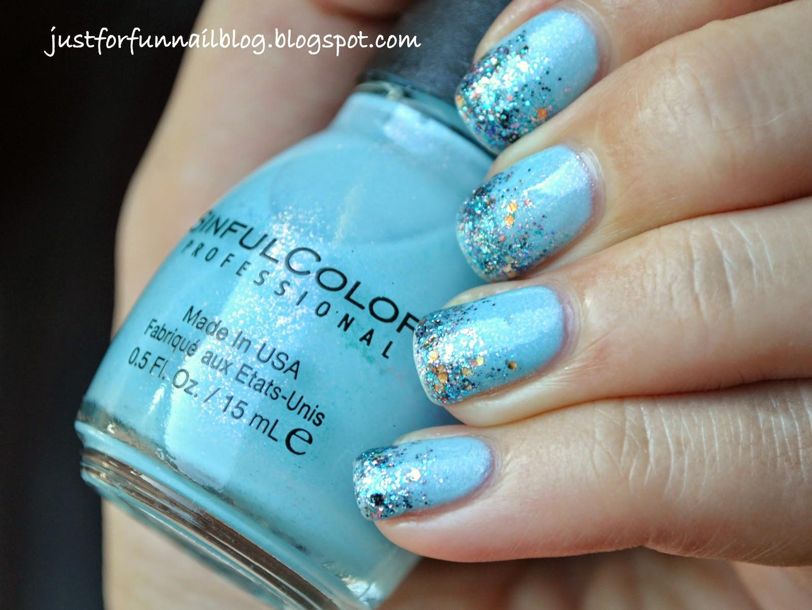 Light Blue Glitter Gradient with Shimmer - Jeniffer