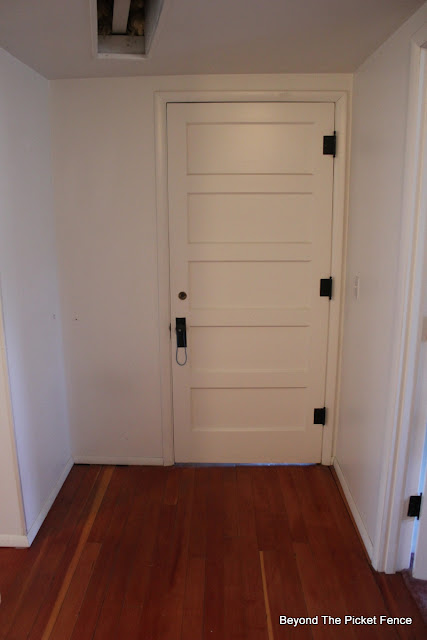This Old House, mudroom, 5 paneled door, wood floor, http://bec4-beyondthepicketfence.blogspot.com/2015/07/before-projects-galore-in-my-old.html