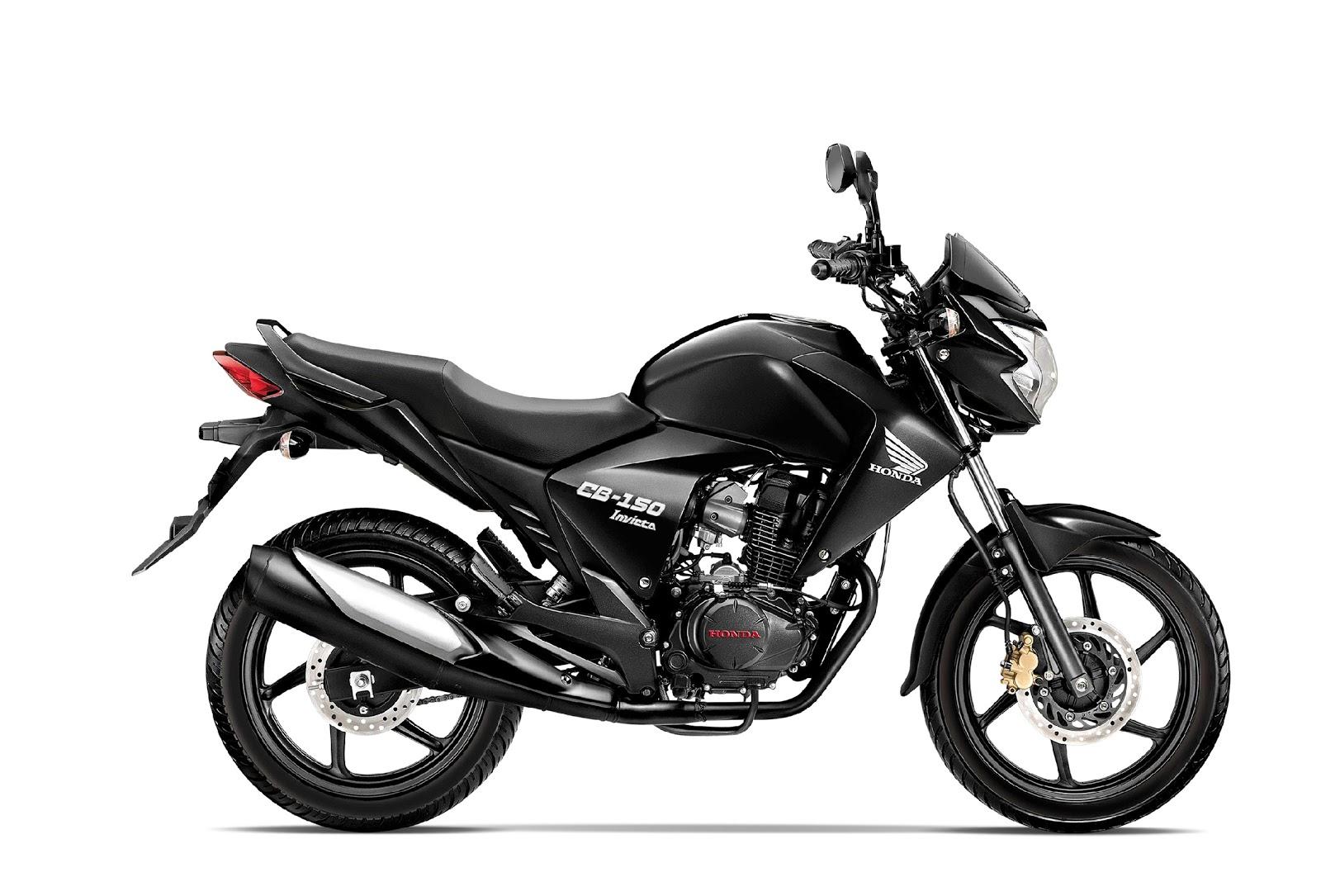 Modelo en color negro de la CB 150 Invicta de Honda