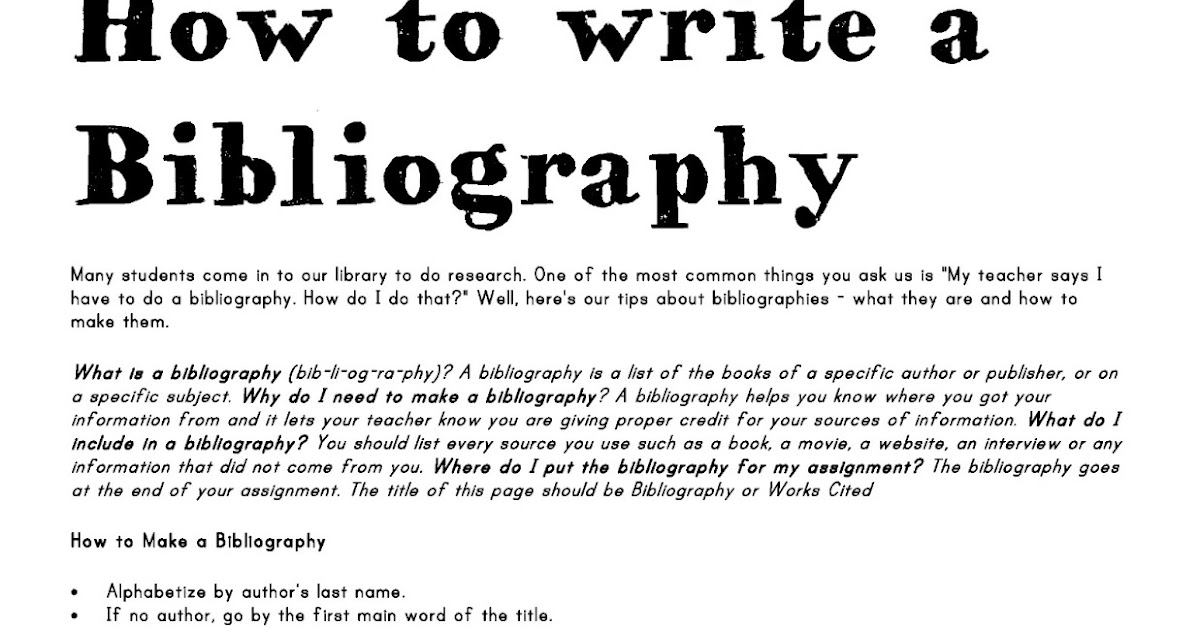 A bibliography page