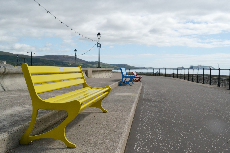 largs sea benches coloured