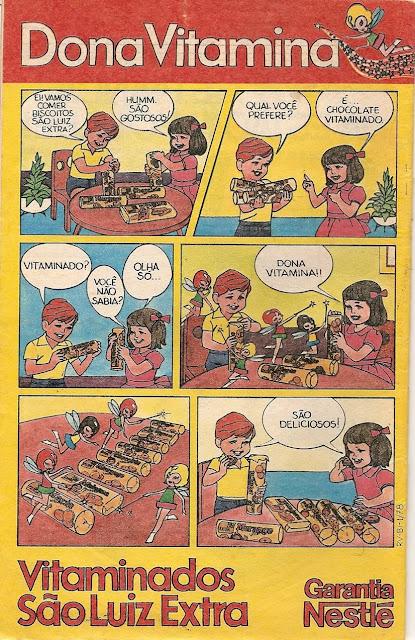 Propaganda dos Biscoitos São Luiz, da Nestlé. Linha vitaminada com anúncio sob forma de história em quadrinhos. Veiculada em 1978.