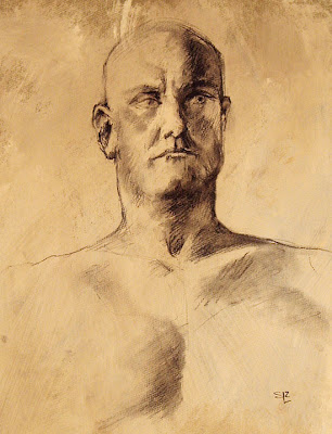 life drawing, male.charcoal on gessoed paper, Shannon Reynolds