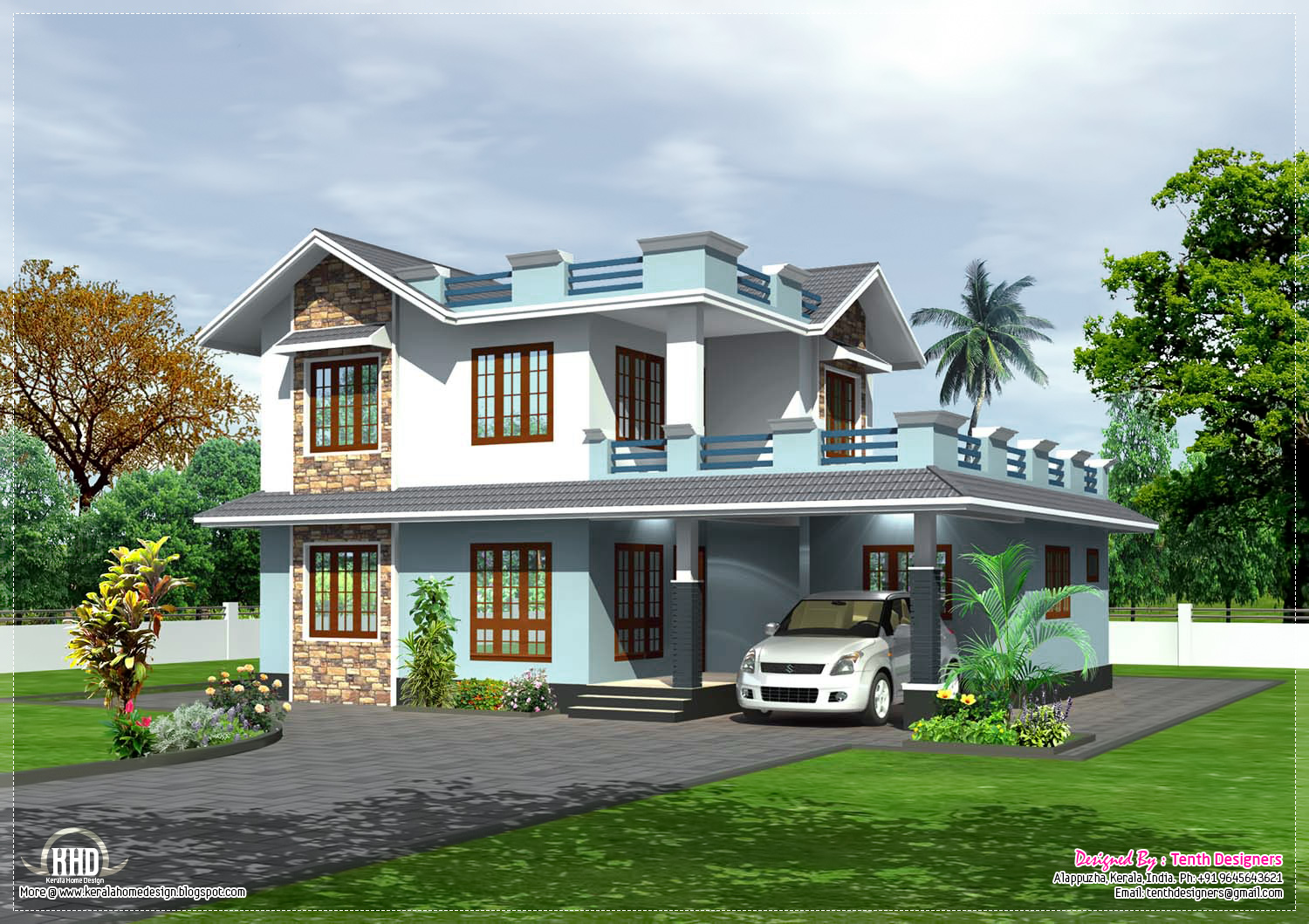 2100 square feet home elevation kerala home design and for Elevation of kerala homes