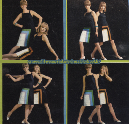 Dress and coat , color block, 1966  60s 1960 mod stripe striped colorblock