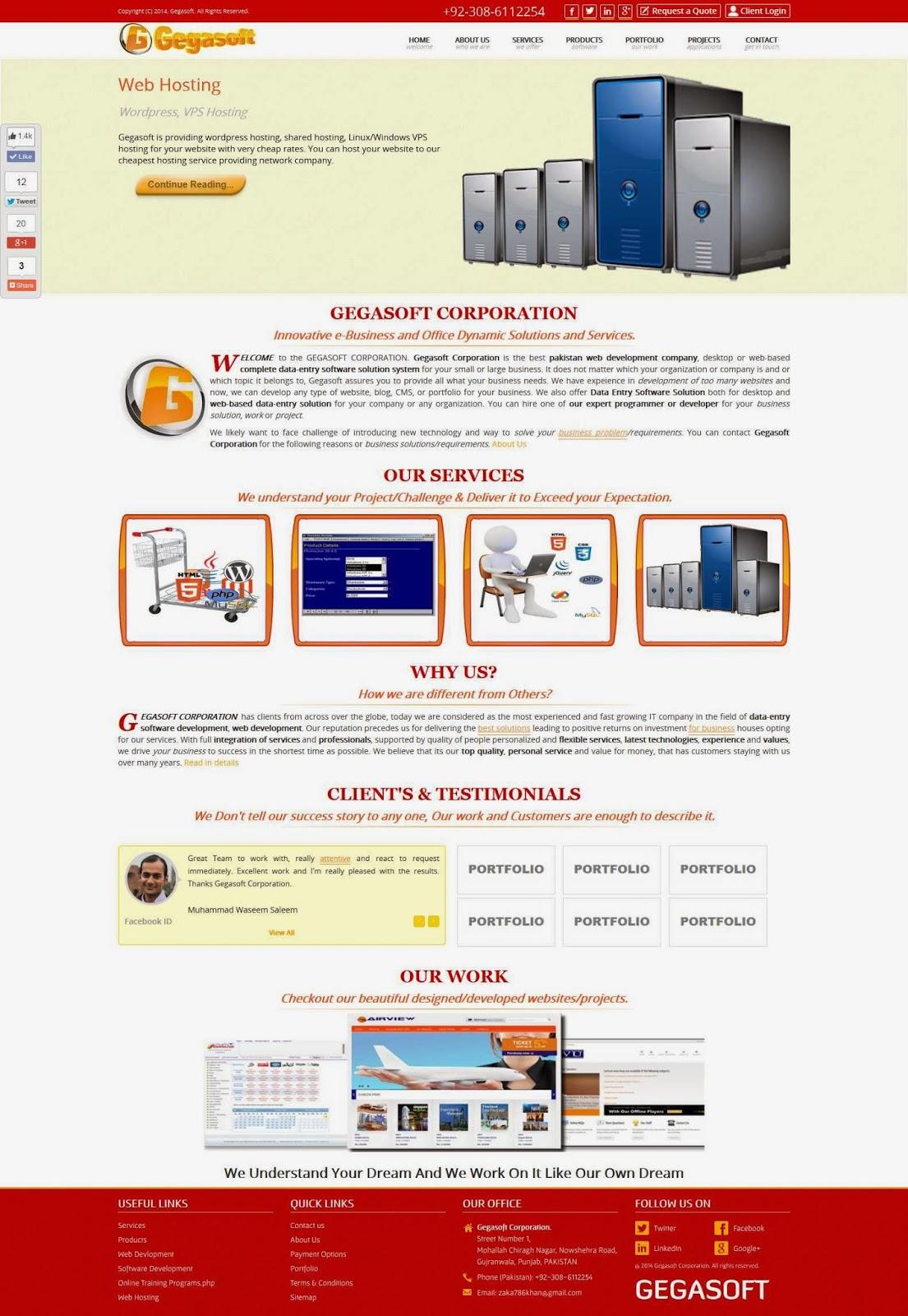 Ge Online Service Login New Theme Of Gegasoft Corporation Website Web Hosting Web