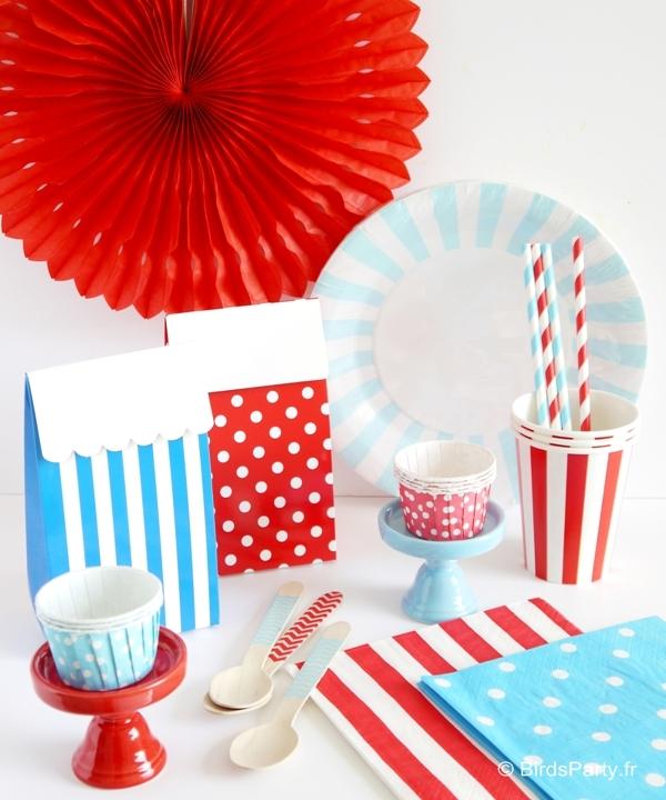 Article de Fête, Art de la Table, Cadeaux, Décorations Anniversaire, Mariage, Sweet Tables et Party Printables BLEU, BLANC, ROUGE