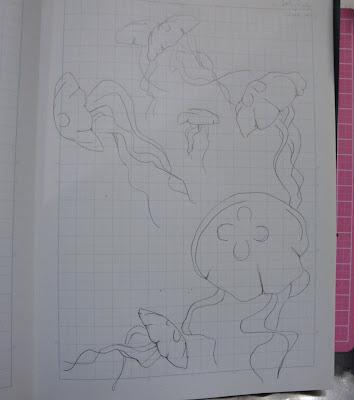 fused glass jellyfish drawing sketch original flutterbyfoto flutterbybutterfly