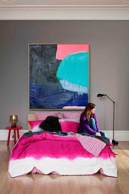 Abstract Painting, Pink bedding, colorful art, grey walls, art above bed, large art, large painting, made her look, madeherlook.blogspot.com, colorful painting