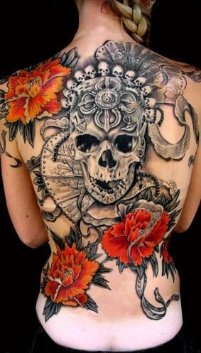 Black grey skull with red flowers tattoo on whole back