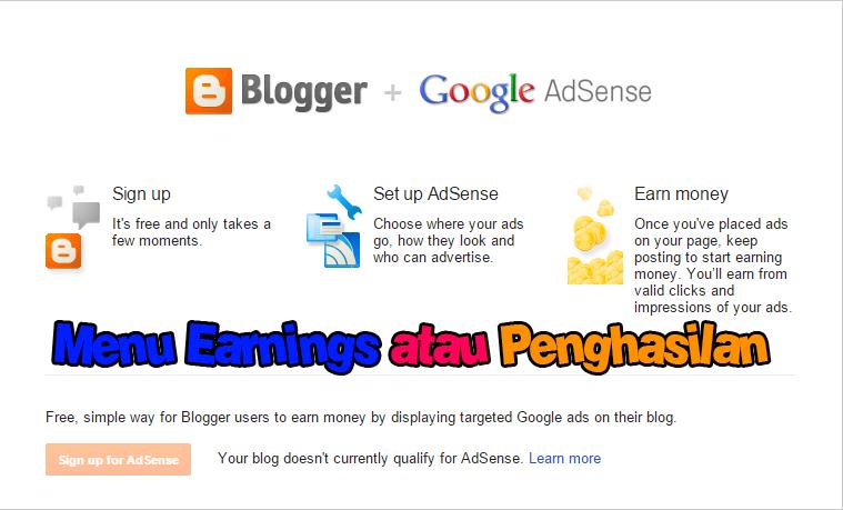 Menampilkan Menu Earning atau Penghasilan di Blog