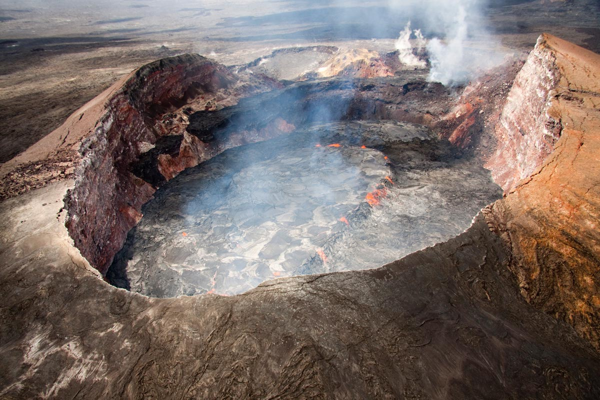 Although Molten Lava Continues Erupting Within Both Of Kilauea Volcanoes Active Craters The Lack Surface Flows Has Kept This Bog Very Quite