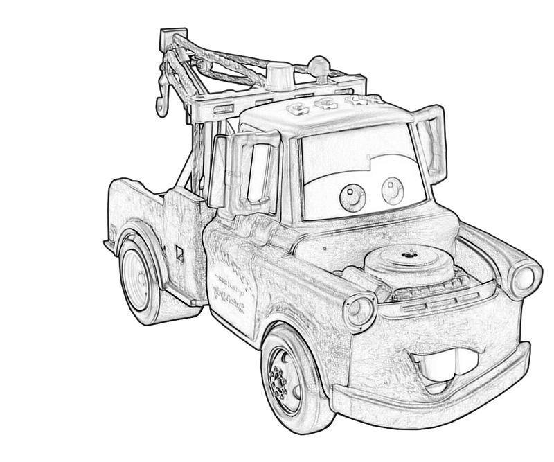 Free Cars Tow Mater Coloring Pages