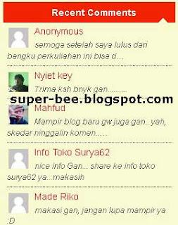 membuat recent comments di blog, recent comments, membuat komentar terbaru diblog, komentar terbaru