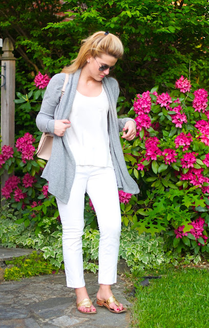 grey cashmere sweater and blush tory burch fleming bag