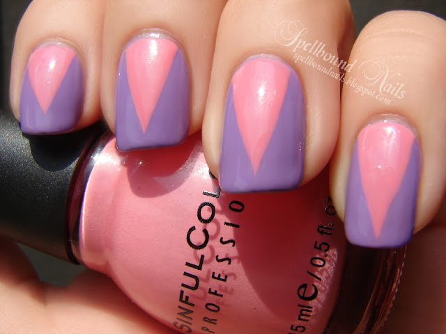 nails nailart nail art mani manicure Spellbound No Hard Feelings Sally Hansen Sinful Colors Beautiful Girl pink purple V Vee tape taped taping