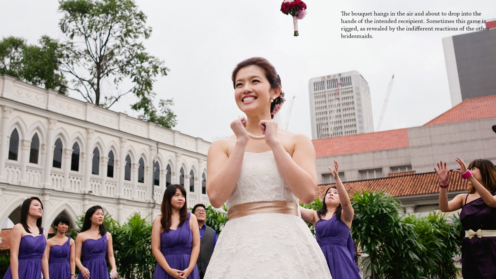 wedding in chijmes bouquet toss