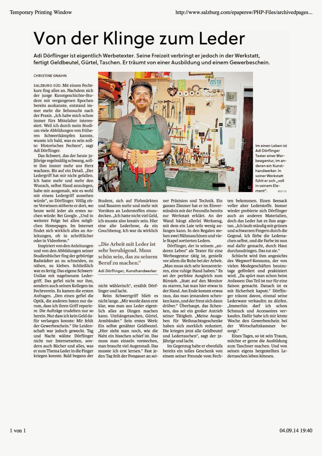 Adi Dörflinger in den Salzburger Stadtnachrichten