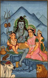 Shiva and his family. As Bhuteswara he is a haunter of cemeteries and places of cremation. At the burning ground his wife Parvati holds Karttikeya in her lap and watches while Ganesa and Shiva string together the skulls of the dead. Kangra painting, 1790. Victoria and Albert Museum, London.