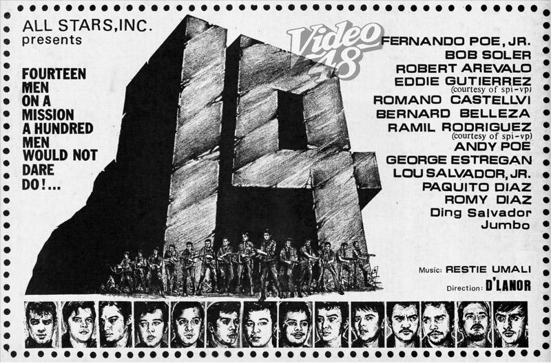 "14"" (1969)- Stars Fernando Poe, Jr., Bob Soler, Robert Arevalo, Eddie"