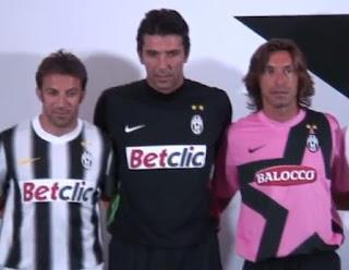 equipaciones de la Juventus, Del Piero, Buffon y Pirlo