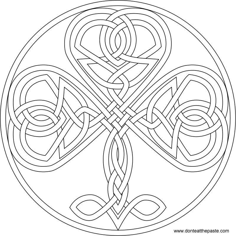 Knotwork shamrock to color- also available in PNG format #coloringpage #StPatricksDay #knotwork