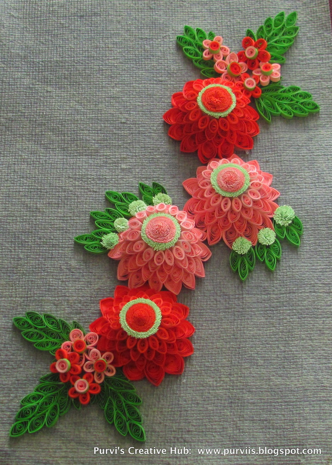 Purvi 39 s creative hub 3d quilled dahlias for How to quilling designs