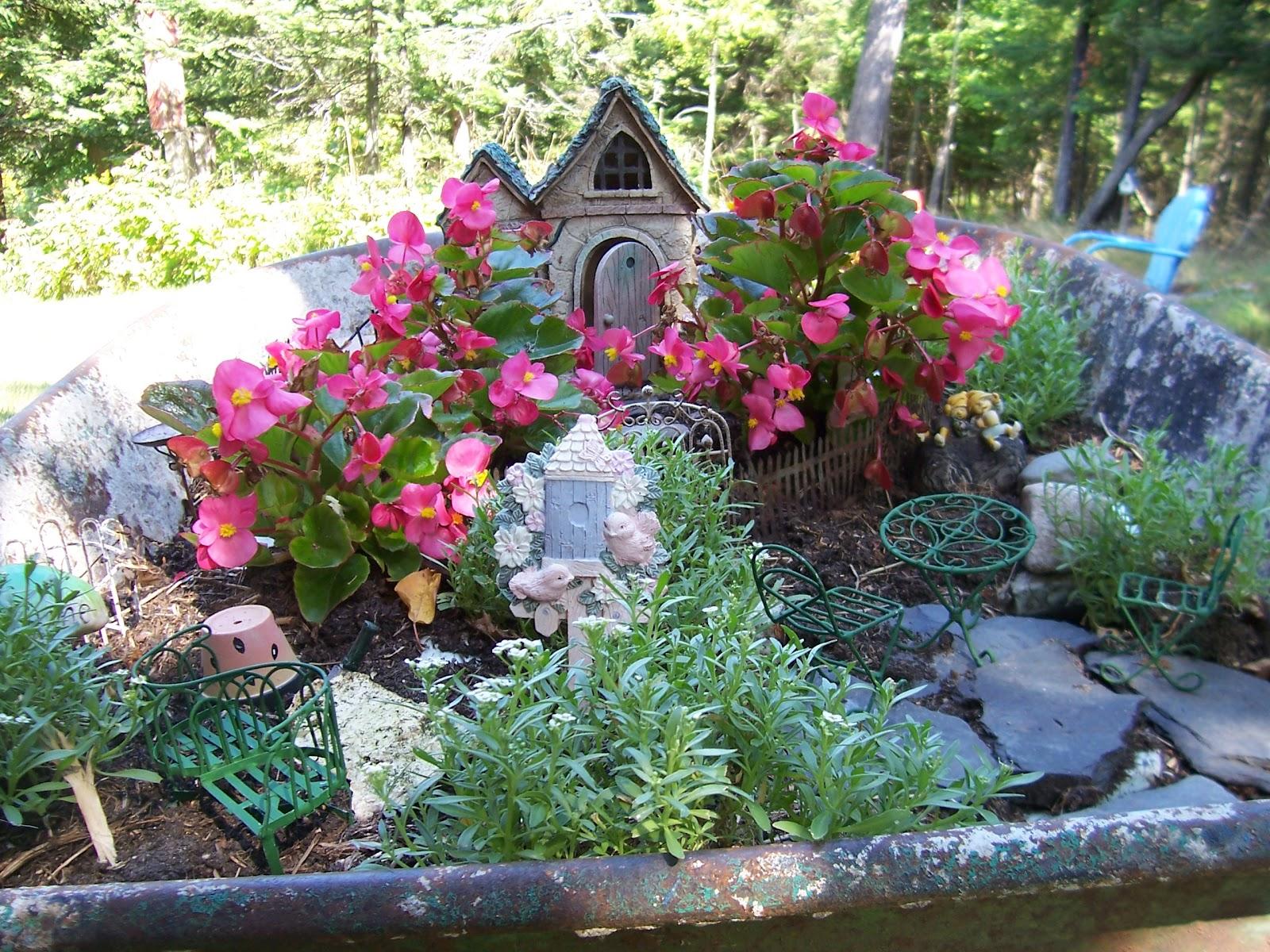 Two Cottages And Tea Wheelbarrow Fairy Garden