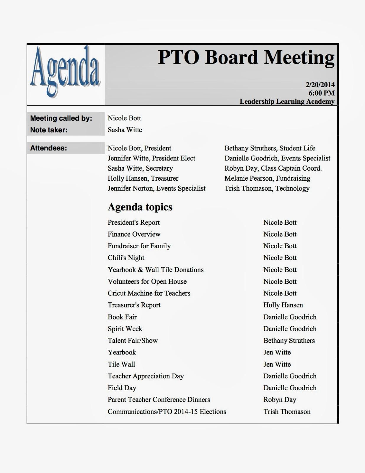 LLA Charter PTO: Mtg Min.