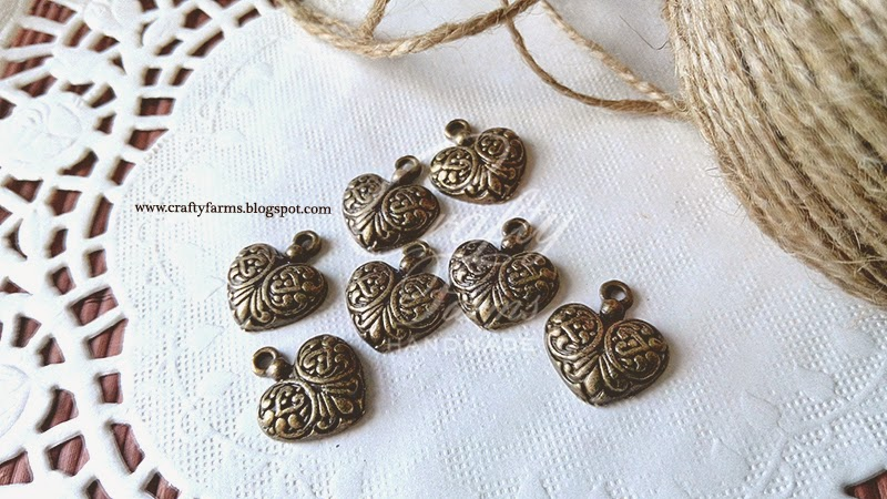 Vintage Bronze Heart Shape Charm with Burlap Jute String, Wedding Embellishment Malaysia