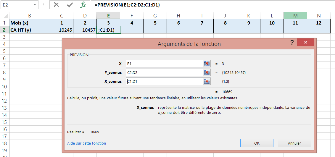 Fonction Excel - PREVISION