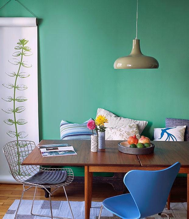 Esszimmer in Blau und Flaschnegrün - entspannende Atmosphäre zum Gourmet Essen