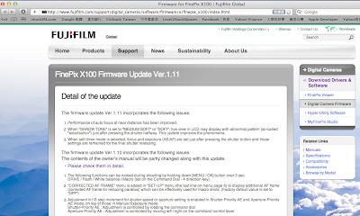 Fujifilm X100 firmwave