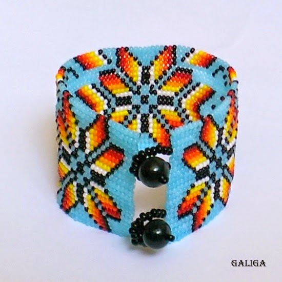 ethnic style beaded jewelry-colorful seed bead bracelet-blue sky with flowers-wide cuff-floral ornament