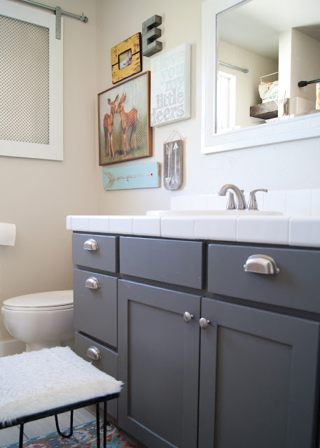 Project Kid's Bathroom Makeover - before & after - Martha Stewart Zinc on vanity , DIY artwork , vintage hairpin leg stool