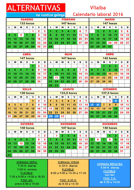 Vilalba. Calendario laboral 2016