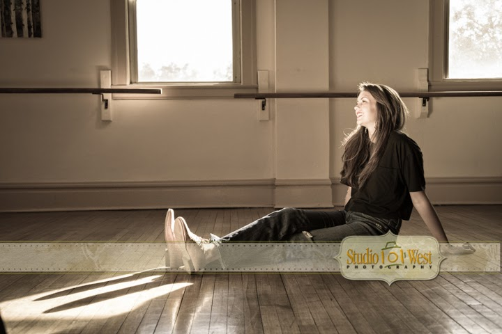 Senior Portrait in Vintage Dance Studio - Atascadero Senior Photographer - Studio 101 West Photography