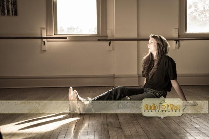 Senior Portrait in Vintage Dance Studio - Atascadero Senior Photographer - Studio 101 West Photography
