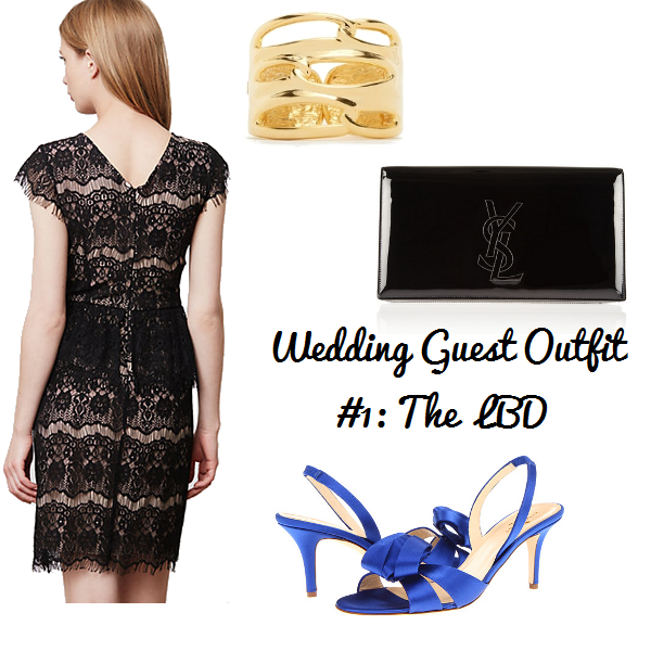 Anthropologie Elsa peplum dress, Kenneth Jay Lane gold cuff, Kate Spade Madison heels, Saint Laurent Belle de Jour clutch