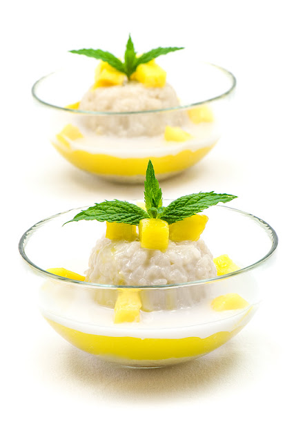 Thai sticky rice with mango blog recipe shot close up