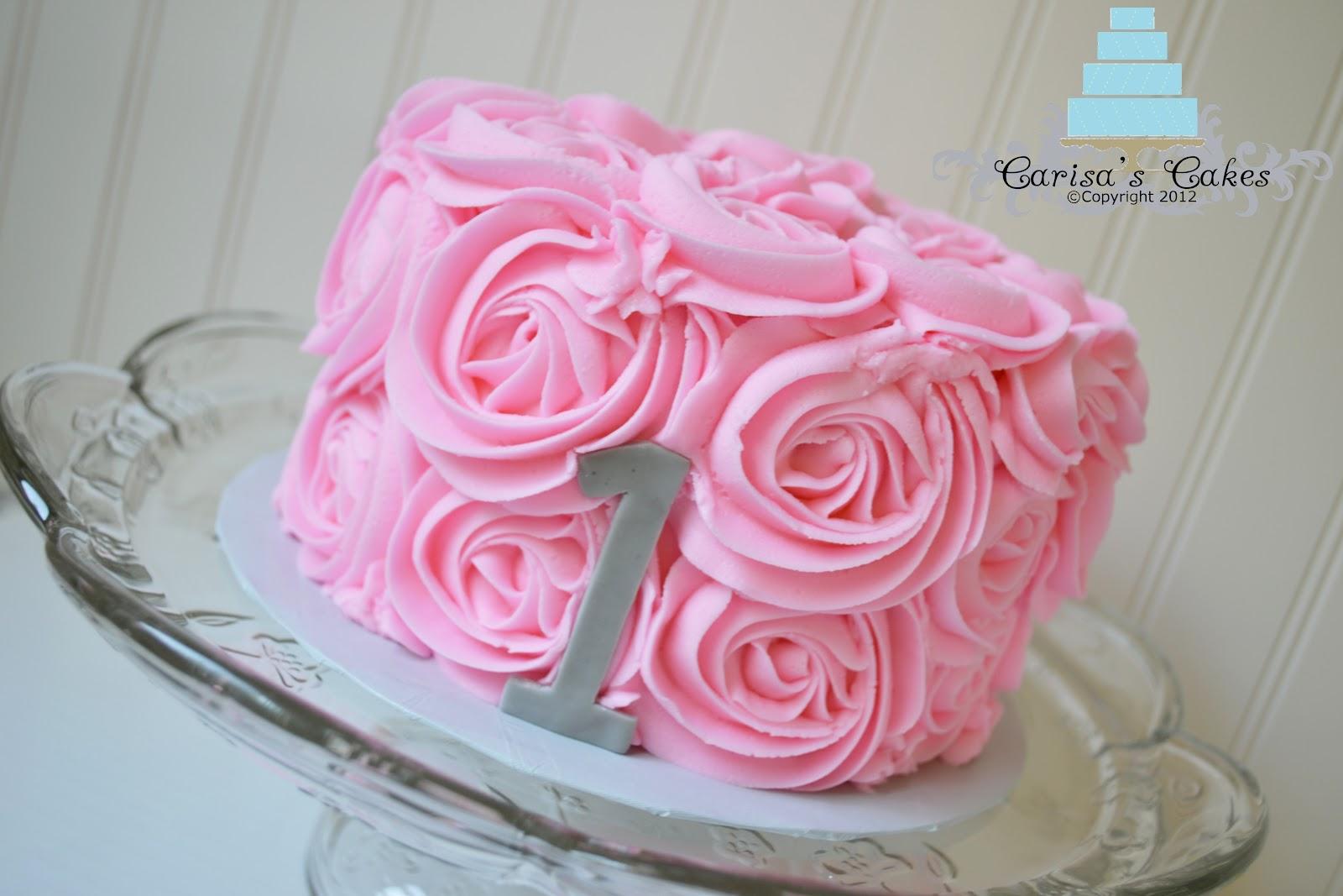 Carisa s Cakes: Vintage Pink Rose Swirl Smash Cake