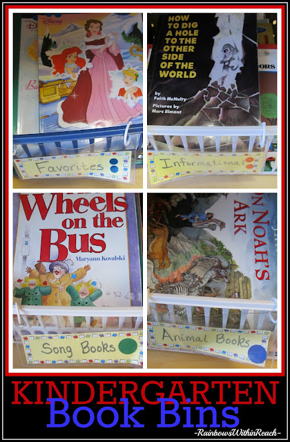 photo of: Book Bins in Kindergarten, Organized by Topic