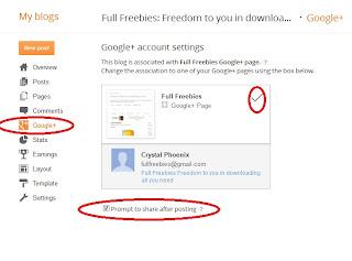 Blogger's Google+ settings