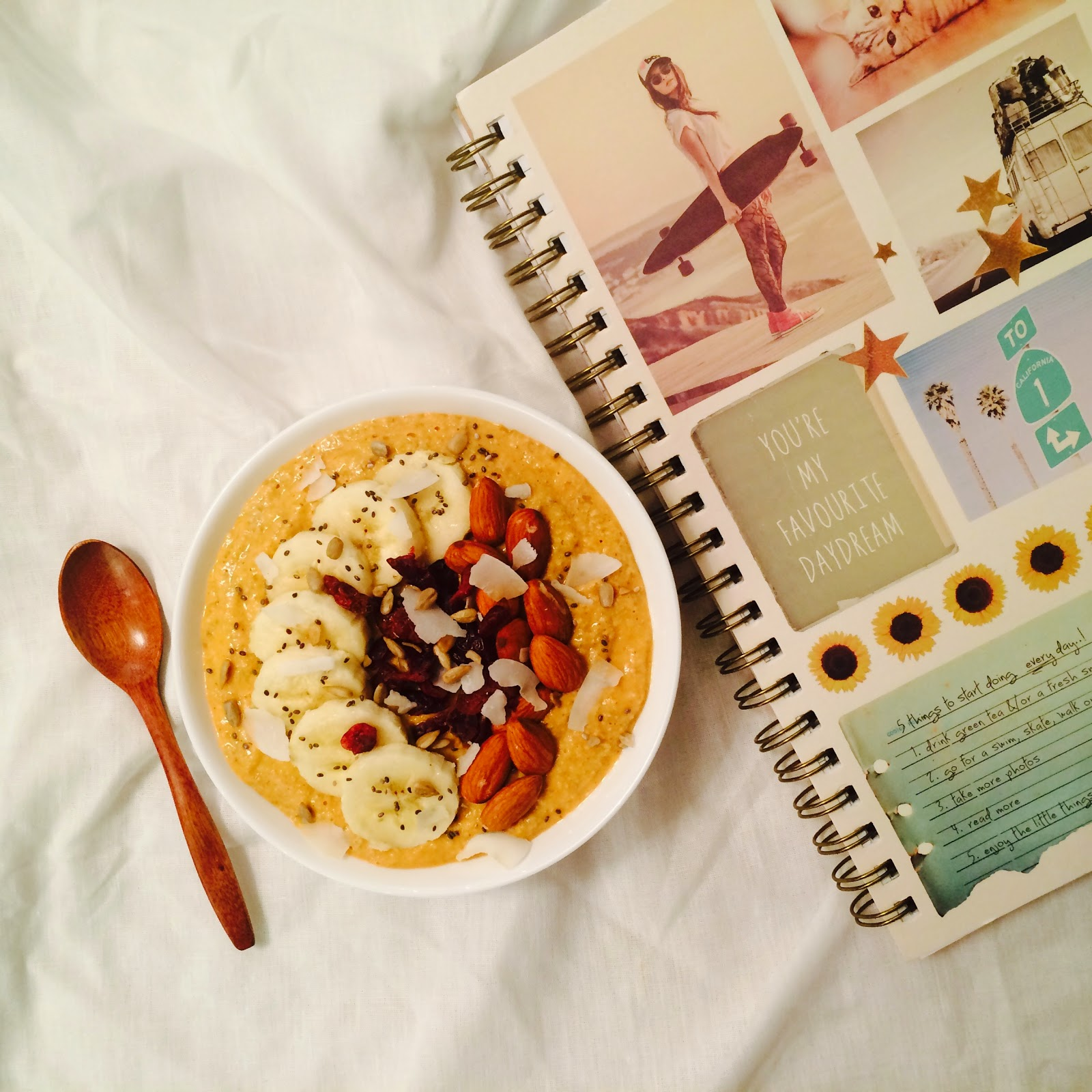 Honey Papaya & Banana Smoothie Oatmeal Bowl Recipe
