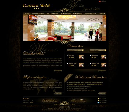 một website site khách sạn chuyên nghiệp khác được chúng tôi thiết kế