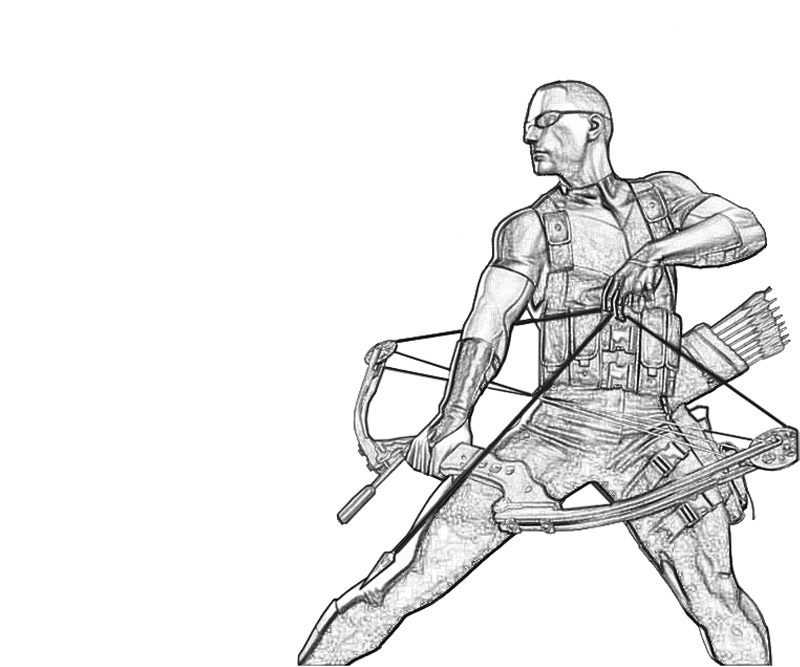 weapon coloring pages - clint barton weapon lowland seed
