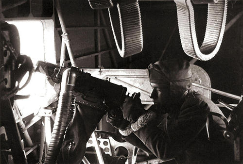 WW2 Italian Side Gunner Inner view of Italian bomber Savoia-Marchetti S-79_Sparviero