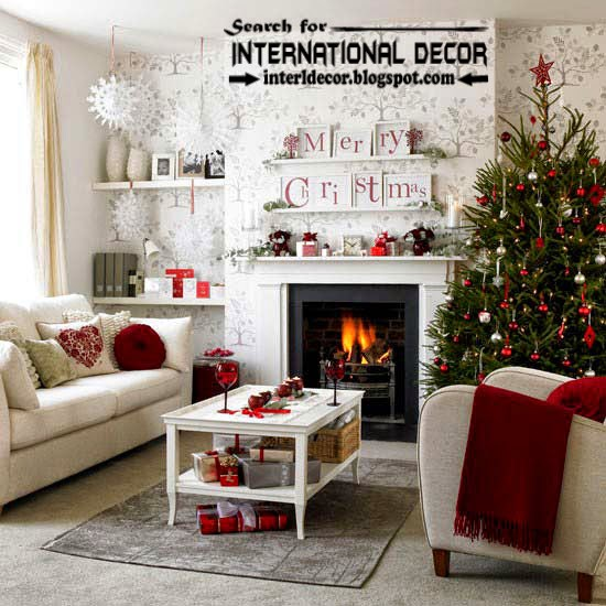 Christmas decorating ideas for fireplace 2015, Christmas mental fireplace for new year 2015