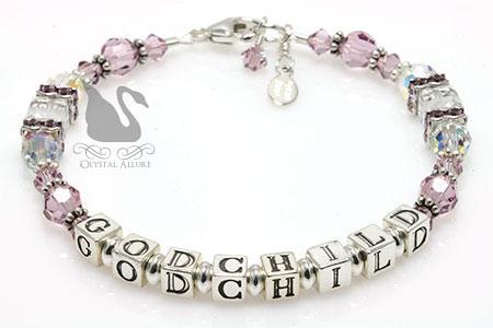 Light Purple Lilac Crystal Godchild Bracelet (B200-GC)
